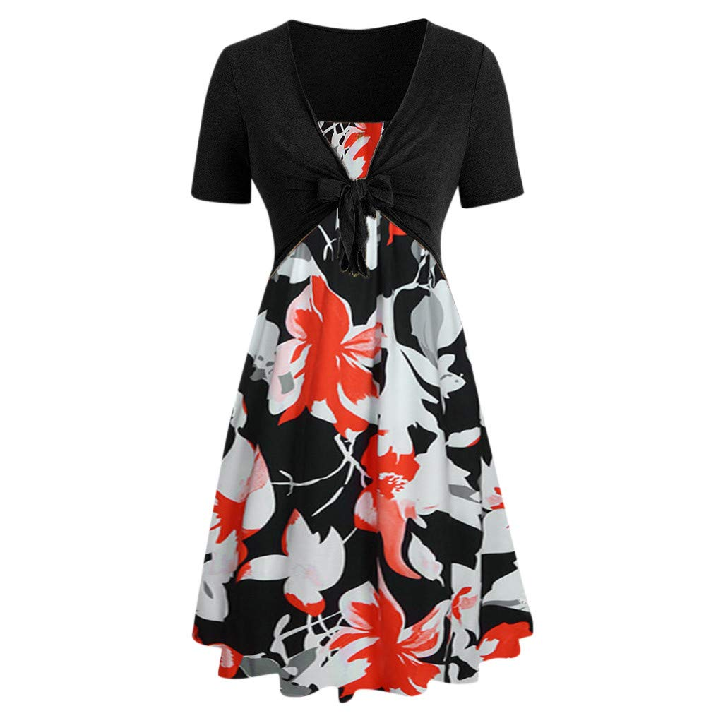 ❤Women's Floral Printed Dresses, Clearance Sale! Ladies Casual Short Sleeve Bow Knot Bandage Top Vintage Mini Dress Suits