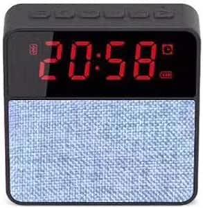 Cloth Clock Bluetooth Speaker Card Bluetooth Speaker Phone Audio Wireless Subwoofer Clock Display,Gray
