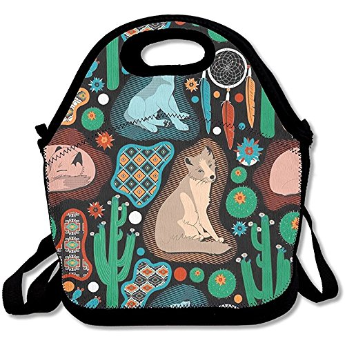 Staroklaho Southwest Baby Wolves Lunch Tote Bag Bags Awesome Lunch Handbag Lunchbox Box For School Work Outdoor by Staroklaho