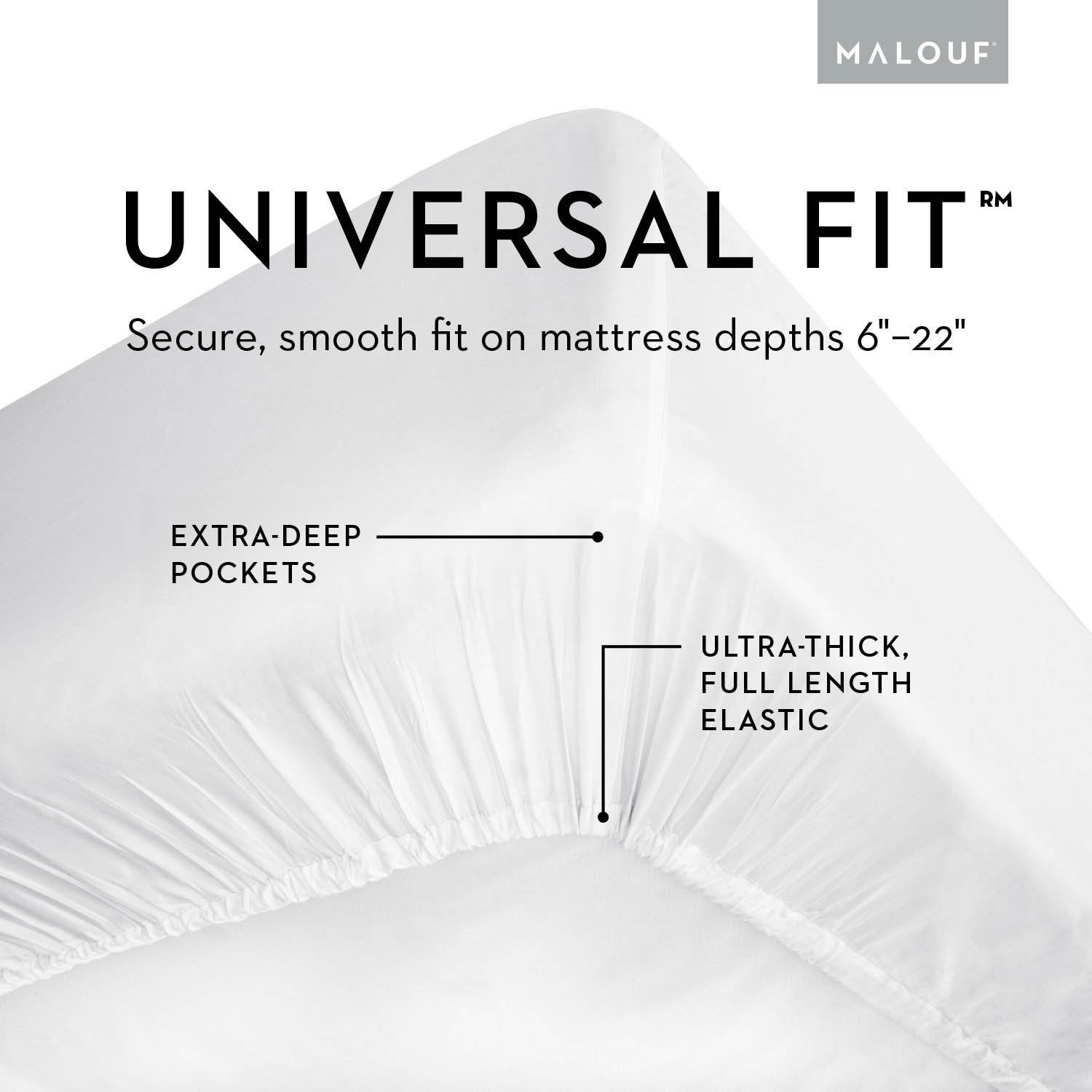 MALOUF Split Head 100% Rayon From Bamboo Sheet Set - 4-pc Set - Queen - Driftwood by MALOUF (Image #5)
