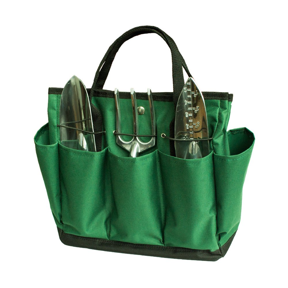 SYOOY Gardening Tool Tote Tools Organizer with 8 Pockets for Indoor Outdoor Garden - Dark Green 13.5'' L (Tools not Included)