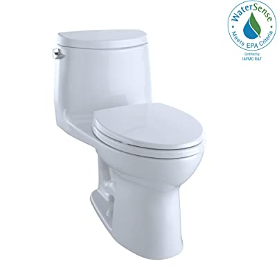 "Toto MS604114CEFG#01 UltraMax II One-Piece Elongated 1.28 GPF Universal Height Toilet with CEFIONTECT, Cotton White, L 28 3/8"" x W 16 1/2"" x H 28 3/4"","
