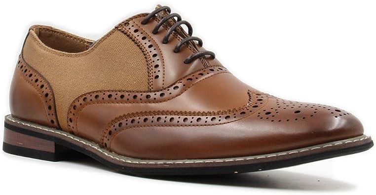 Parrazo Men Dress Shoes Wingtip Oxford 2-tone Leather Lined Lace Up Size 8.5-13