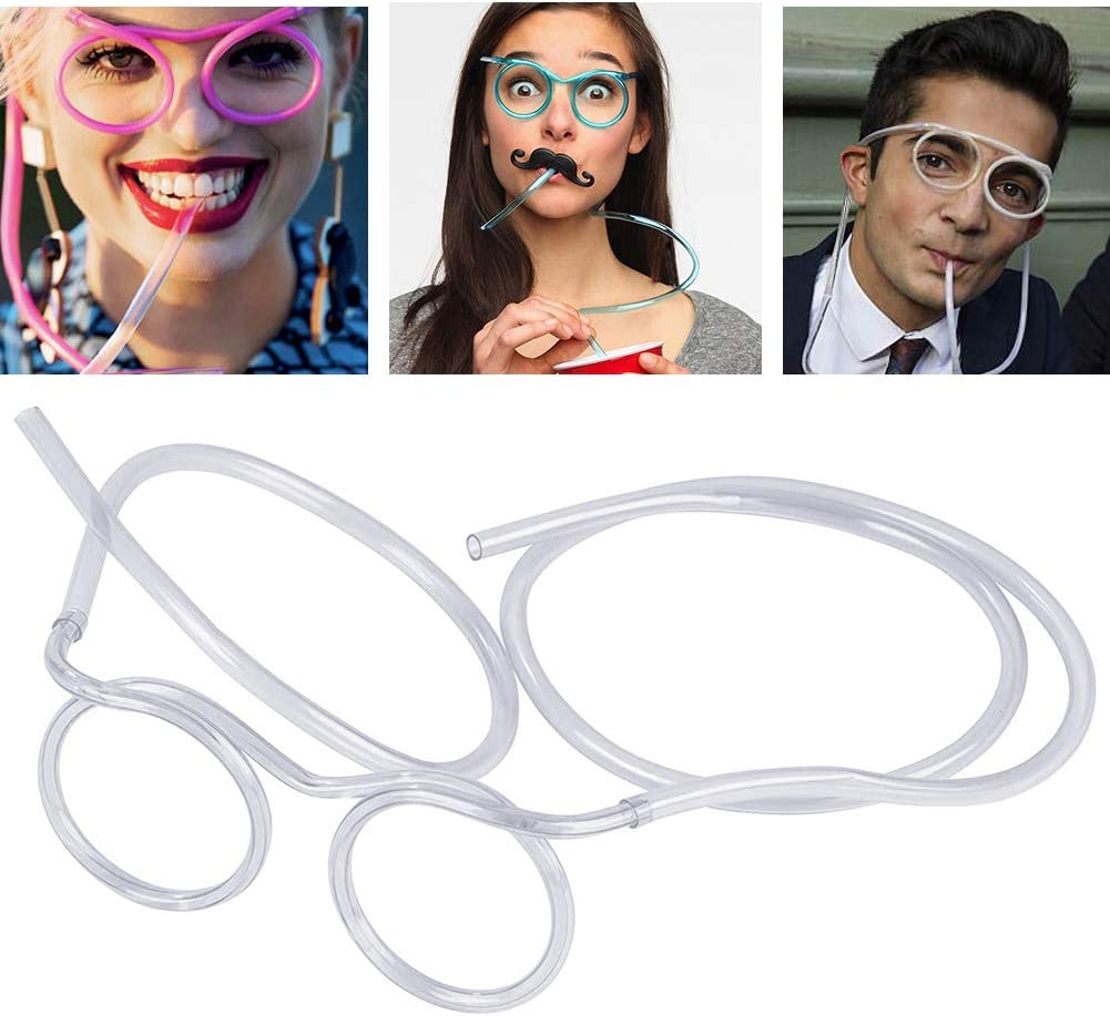 Funny straw Glasses Flexible Drinking Straw Novelty Eyeglass Frame Bar Accessories for Birthdays, Bridal Showers, Party Supplies, Favors, Game Ideas(crystal)