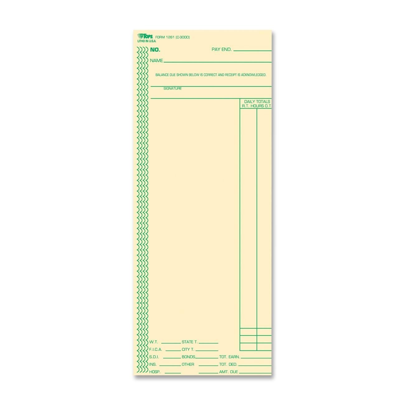 TOPS Time Cards, 3.38 x 8.25 Inch, Green Ink Front, Weekly Format, 100-Pack, Manila (12613) S.P. Richards CA