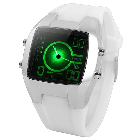 Reloj LED Digital Deportivo Doble Pantallas Horarios Electrónico cronómetro para Niños Estudiantes Hombres Cool - Blanco - con caja de regalo: Amazon.es: ...