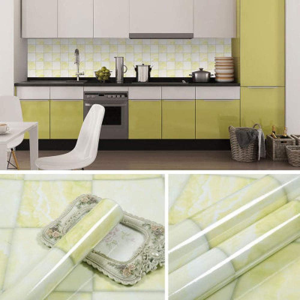 Gruesos muebles de mármol pegatinas puerta armario piedra autoadhesivas pegatinas de pared papel tapiz impermeable papel tapiz 0.6m * 5m amarillo claro cuadrado