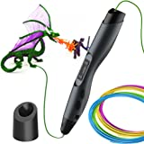 Aerb 3D Pen, 3D Printing Pen with OLED Display and 2 Loops of 1.75 mm Filament Refills, Ultimate Innovative Design for Doodling, Art & Craft Making and Education(Black)