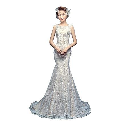 Vestido de Novia de Cola de Pescado Vestido de Novia con Doble Hombro Vestido de Novia