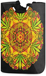 AUISS Hanging Laundry Hamper Bag Psychedelic 60S Weed Folding Basket Storage Behind Doors Dirty Clothes Travel Collector
