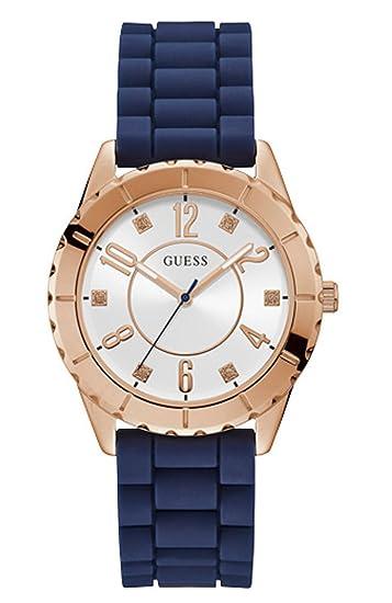 Guess Reloj Analógico para Mujer de Cuarzo con Correa en Caucho W1095L2: Amazon.es: Relojes