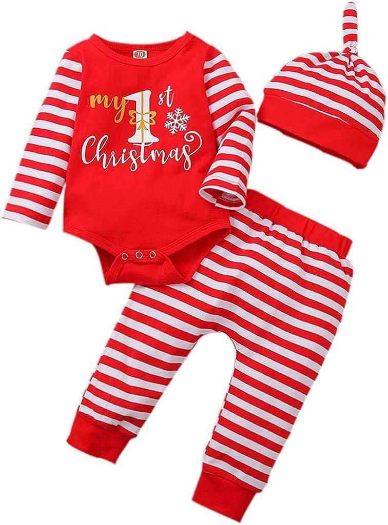 Geagodelia Conjunto de ropa para bebé de Navidad para niño, niña, body de manga larga + pantalón para recién nacido, conjunto de ropa de Navidad My First Christmas