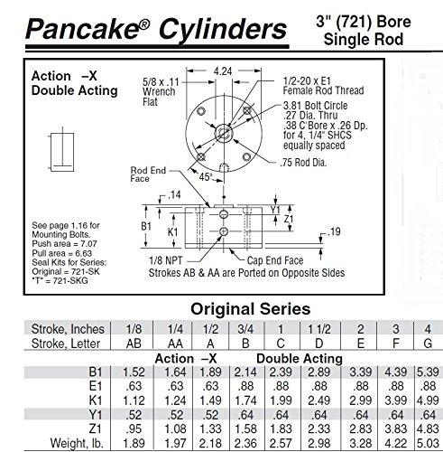 [해외]Fabco-Air C-721-X-E 오리지널 팬케이크 실린더, 복동, 최대 압력 250 PSI, 자석으로 스위치 준비, 보어 직경 x 1 스트로크/Fabco-Air C-721-X-E Original Pancake Cylinder, Double Acting, Maximum Pressure of 250 PSI, Switch Ready with Magnet...