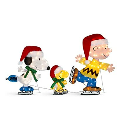 christmas decoration yard art peanuts ice skating snoopy woodstock charlie brown