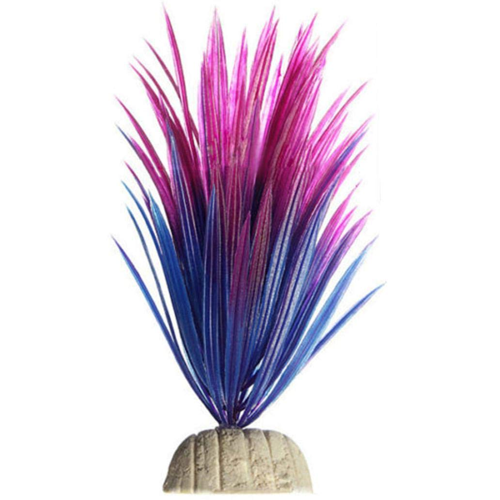 Gbell 1Pcs Plastic Artificial Aquarium Plants with Base, Lifelike Underwater Plastic Plant Aquarium Fish Tank Ornament Decorations,Purple Pink,Non-Toxic Safe for All Fish&Shrimp,4×13×3.5CM (Purple)