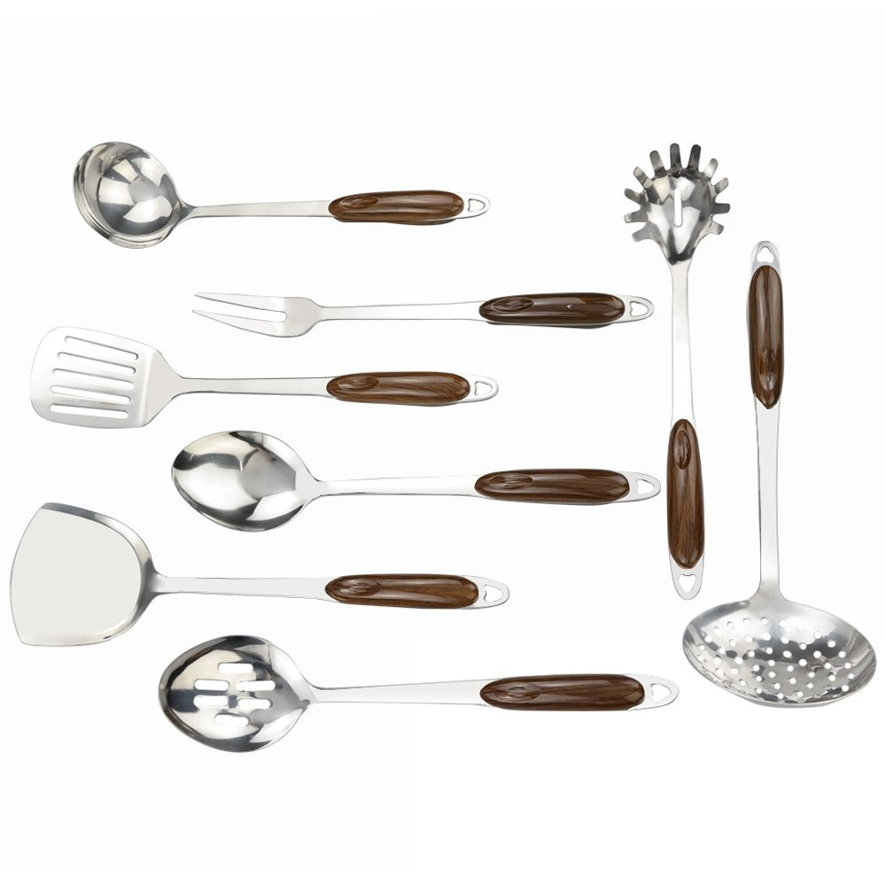 Dynko Cooking Utensil Set 8 Pieces, Stainless Steel