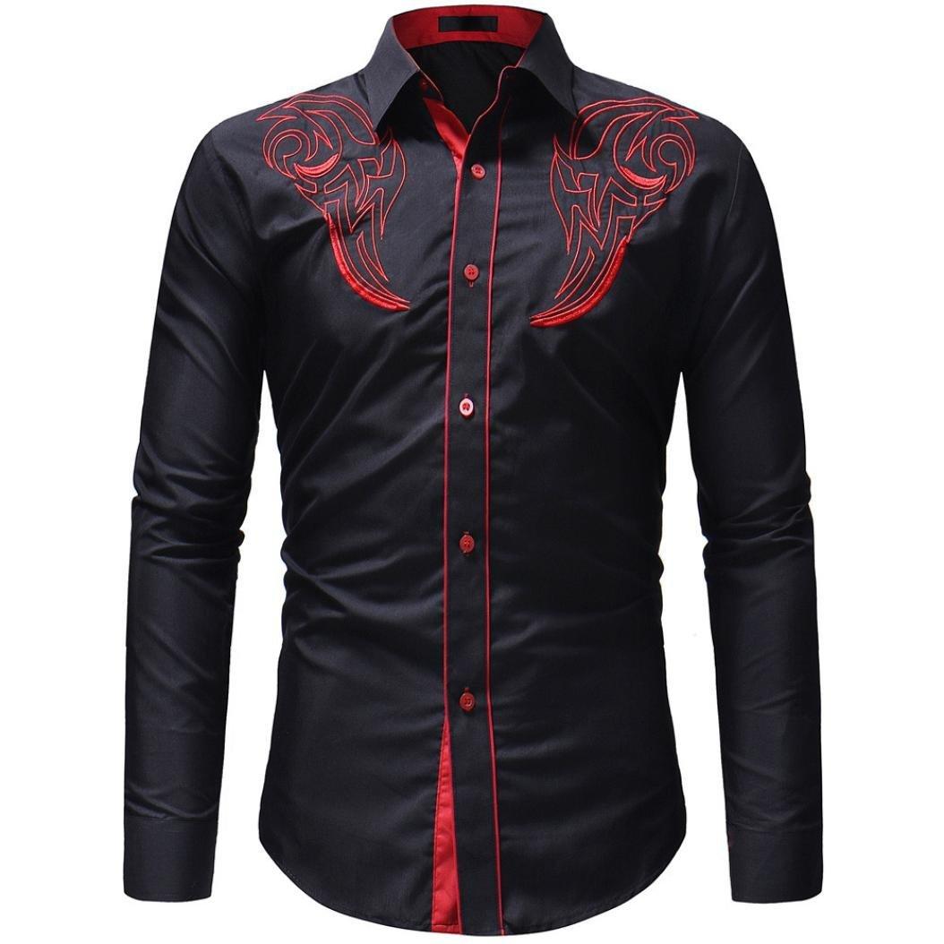 Men Dress Shirts Fashion Embroidery Printed Business Button Down Shirt Blouse Zulmaliu (Black, 2XL)