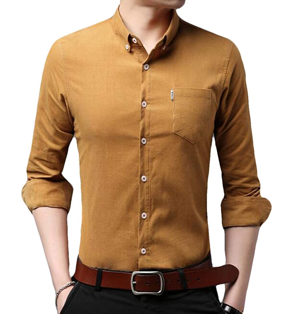 ARTFFEL Men Cotton Junior Long Sleeve Skinny Dress Work Shirt