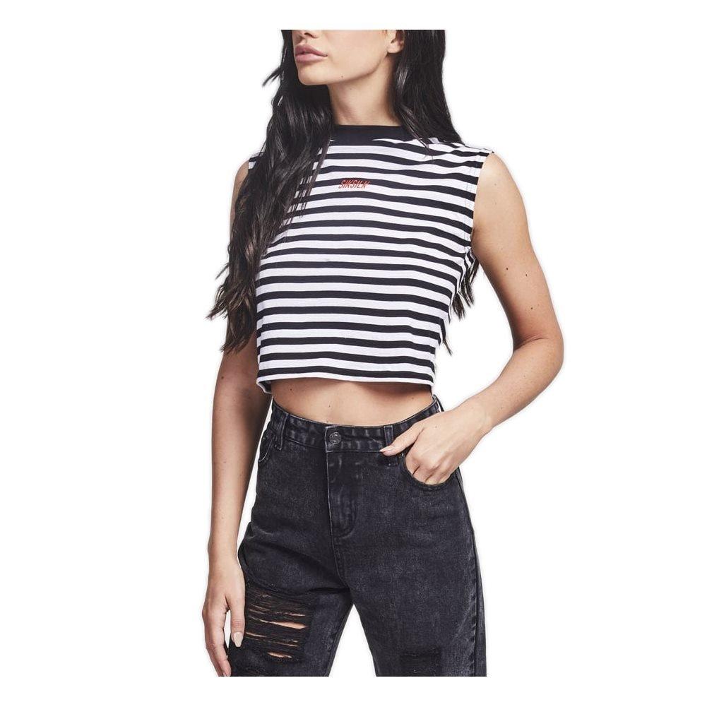 Sik Silk Retro Stripe Crop Vest – Black & White