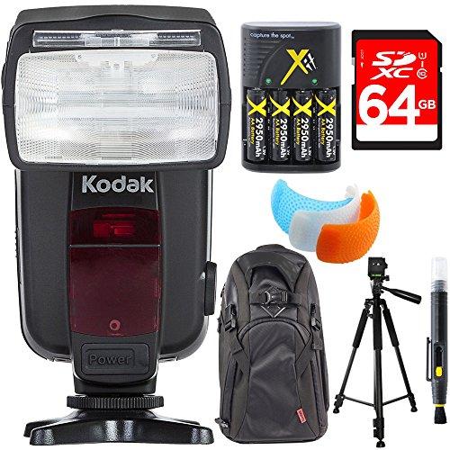 Kodak F4600N Flash TTL 18-180 Power Zoom for Nikon TTL Cameras + Deluxe Power Bundle by Kodak