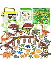 Dinosaurus Speelgoed Omvat Dinosaurusei en Figuren, Feestdecoraties met Speelmat en Opbergdoos voor Kinderen 53 Stuks
