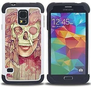 "Hypernova Híbrido Heavy Duty armadura cubierta silicona prueba golpes Funda caso resistente Para SAMSUNG Galaxy S5 V / i9600 / SM-G900 [Deep Dark Goth Señora Pintura Significado""]"