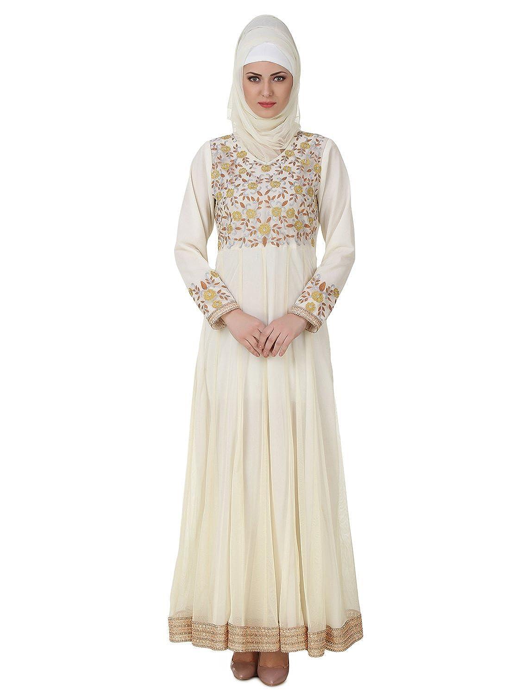 MyBatua Zaeemah Net & Crepe Off White Abaya Stylish Dress AY-441