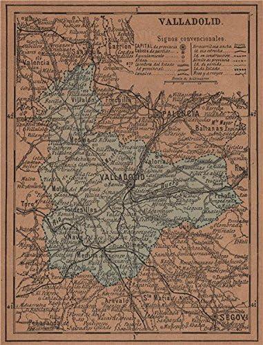 Valladolid. Castilla y León. Mapa Antiguo de la Provincia – 1905 – Old Antiguo Mapa Vintage – Mapas de Impreso de España: Amazon.es: Hogar