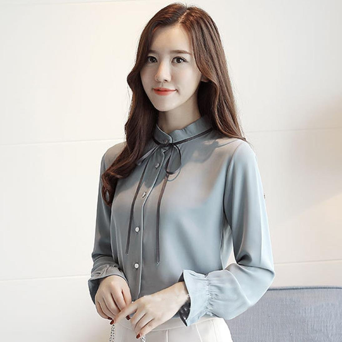 560fe4bd61ef Gyoume Women Tops Lady Office Blouse Banded Collar Shirts Bow Tie Shirts  Work Shirt Long Sleeve Casual Outwears at Amazon Women's Clothing store:
