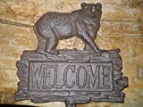 Cast Iron BEAR WELCOME Sign Garden Stake Home Decor Hunting Camp Plaque Rustic by OutletBestSelling
