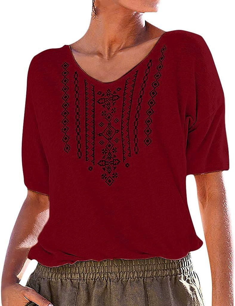 Womens Summer Short Sleeve Sharemen V Collar Print T-Shirt Tops Casual Casual Summer Tops