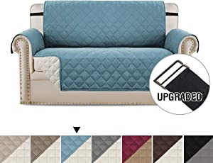 H.VERSAILTEX Loveseat Covers Loveseat Slipcover Reversible Quilted Furniture Protector with Elastic Straps Slip Resistant Furniture Cover for Kids, Dogs, Pets (Loveseat Medium: Smoke Blue/Beige)