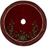 """Valery Madelyn 48"""" Traditional Holly Leaves Tree Skirt with Tartan Trim"""