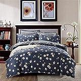 perfect modern duver cover  Duvet Cover Set with Zipper ,100% Cotton Bedding,Navy Little Daisy Floral Design Farm House Style Bedding Set 4pcs