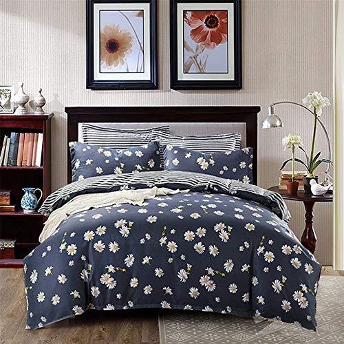 Duvet Cover Set with Zipper ,100% Cotton Bedding,Navy Little Daisy Floral Design Farm House Style Bedding Set 4pcs