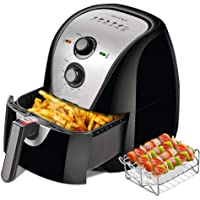 Secura Electric Hot Air Fryer Extra Large Capacity 5.0L / 5.3Qt XL Air Fryers and Additional Accessories, Recipes and Skewers Accessory Set