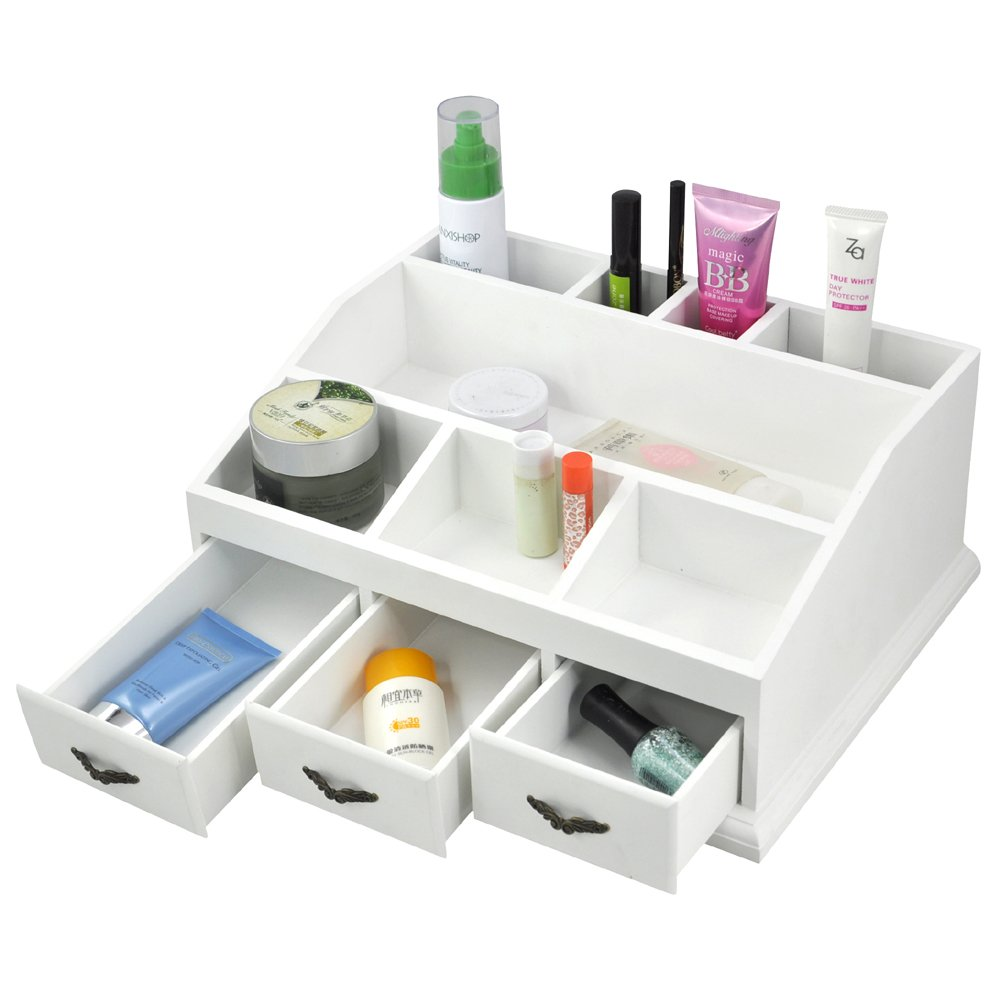 White Makeup Organizer Popamazing White Desk Tidy Organizer Make Up Pen Drawers Cosmetics