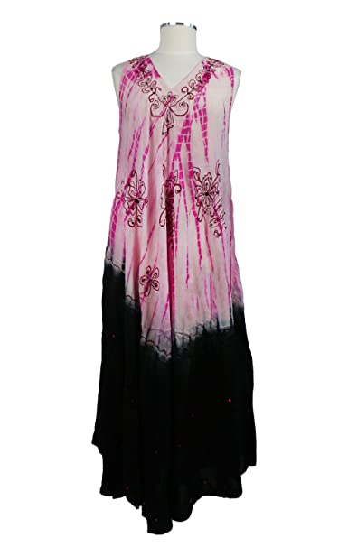 fd24463de3 Women's Indian Multi Colors Tie Dye Free Size Sleeveless Rayon Dress (PINK)  at Amazon Women's Clothing store:
