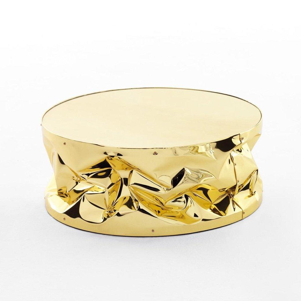 Opinion Ciatti Tab.Ulino Beistelltisch, gold Platte golden verspiegelt glänzend Ø60xH25 cm
