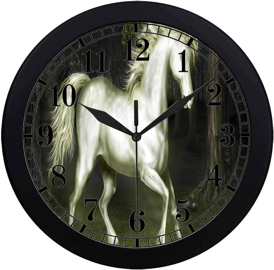 Forest Unicorn Glass Wall Clock