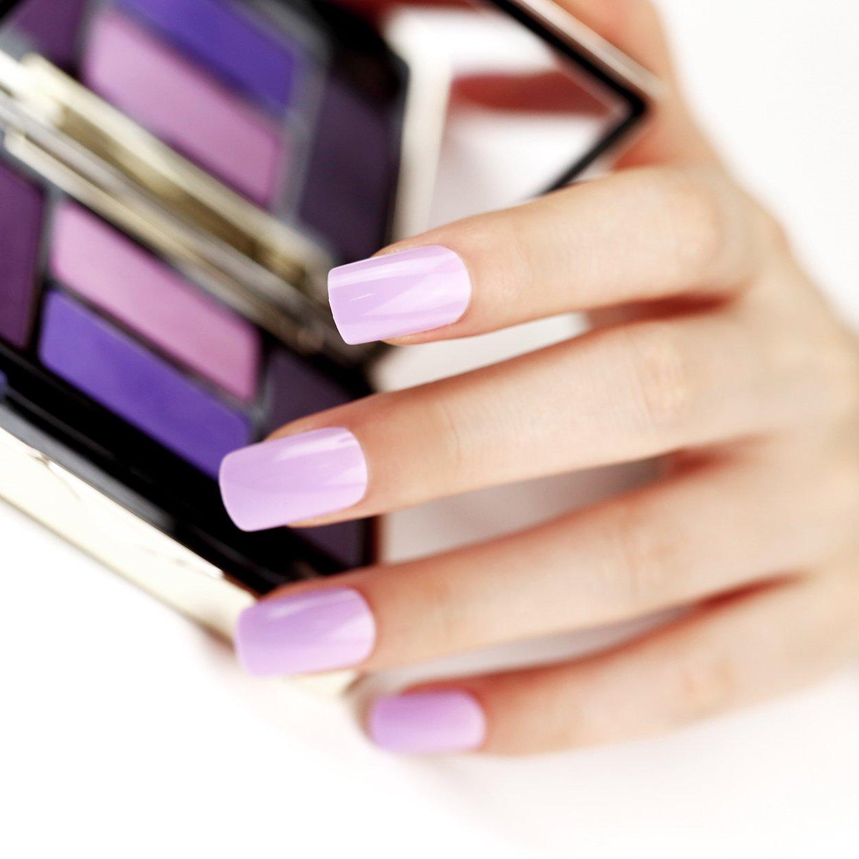 ArtPlus Elegant Lilac Purple Fake Nails Kit Medium Full Cover with Glue 24pcs Premium Pack False Nails (24pcs x 3 (3-Pack))