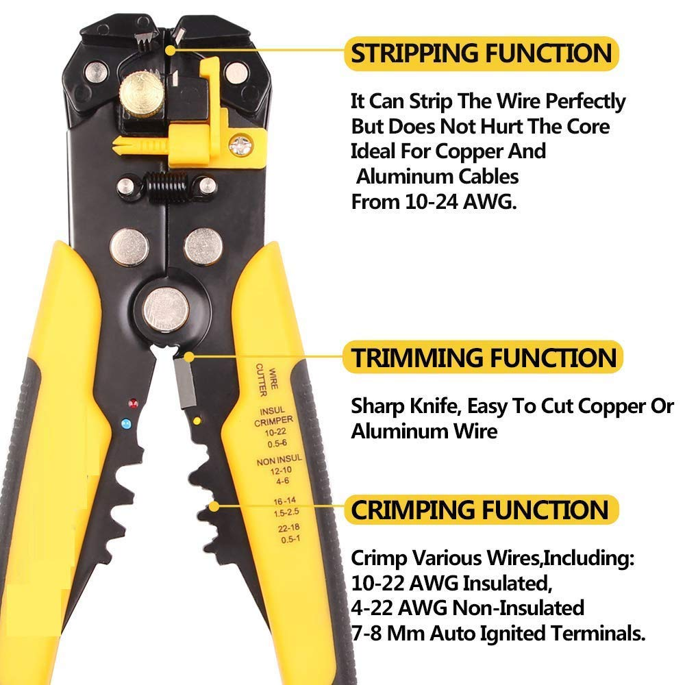 Techtest Professional Heavy Duty 8 Inch Wire Stripper Cutter Copper Or Aluminum Wiring Stripping Tool Automatic Self Adjusting Cable Crimper Cutting Plier For Industry Line Terminal