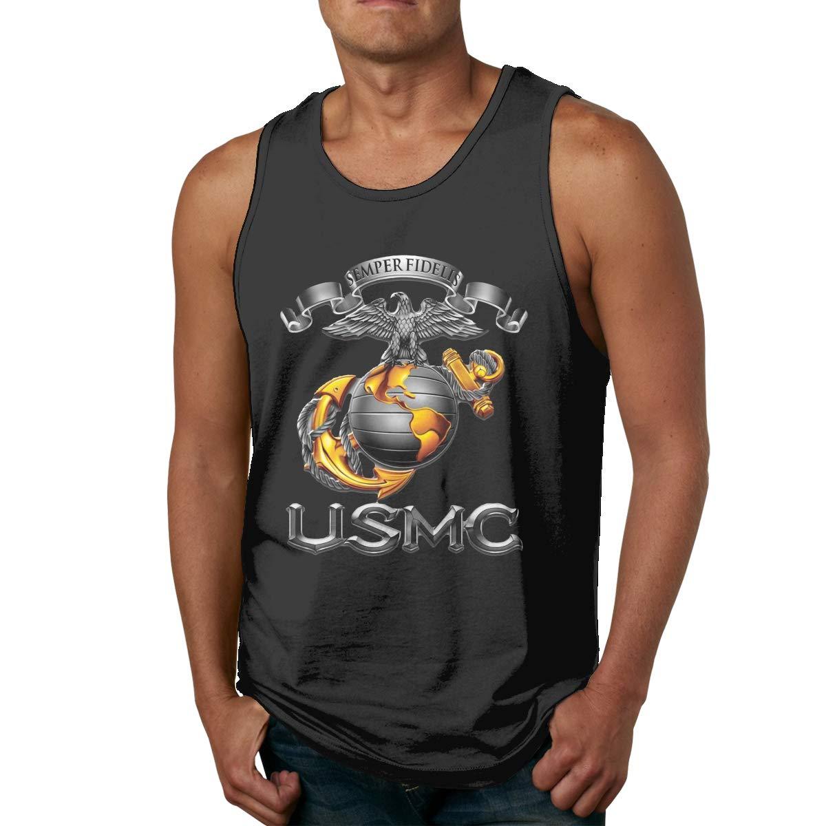 FKAHQ USMC Semper Fidelis Patriotic Mens Printed Vest Sports Tank-Top Tee Leisure Sleeveless T Shirt