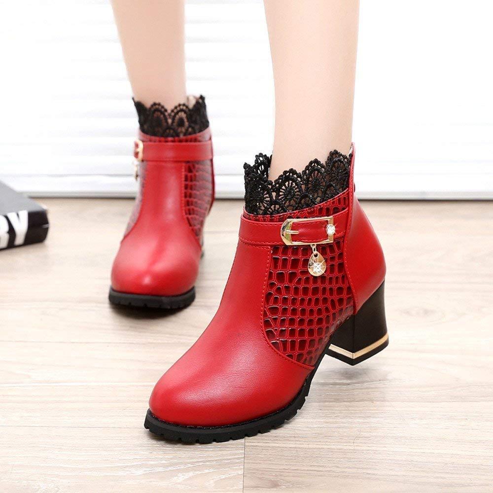 Oudan Stiefel Damen Schuhe Damenstiefel Zip Zip Zip Frauen Starke Ferse Plateauschuhe Schnalle Sexy Reiten Stiefeletten Klassische Freizeitschuhe Stiefel (Farbe   Rot, Größe   41 EU) 489bfb