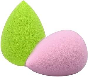 Elim Springs 2 Pieces Multi Color Droplet Makeup Blender Sponge set, Foundation Blending Sponge, Flawless Egg Shaped Makeup Blender for Liquid, Creams, and Powders(Pink & Green)
