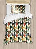 4 Pieces Bedding Sets for Child Twin Size Cactus Duvet Cover Set, Mexican Succulent in Pots Botanical Themed Illustration House Plant Arrangement, 1 Duvet Cover 1 Flat Sheet and 2 Pillowcases