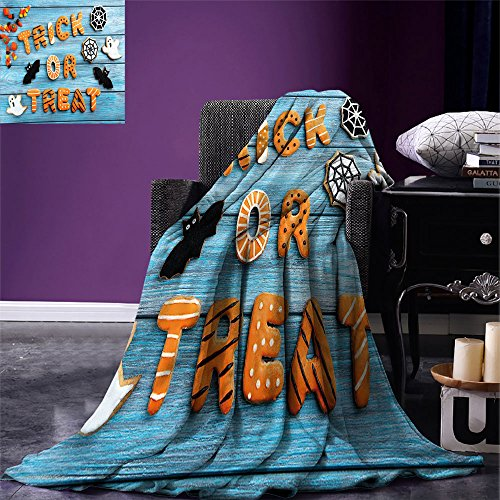 smallbeefly Halloween Digital Printing Blanket Fresh Trick or Treat Gingerbread Cookies on Blue Wooden Table Spider Web Ghost Summer Quilt Comforter Multicolor -
