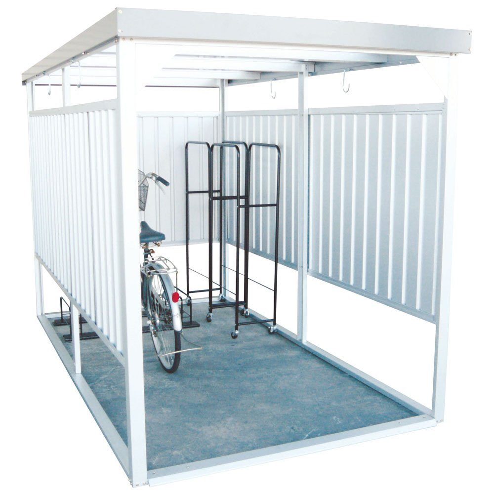 ダイマツ 多目的万能物置 サイクルハウス 物置 自転車 バイク 収納 屋外 シルバー DM-14 B0761NF3DY