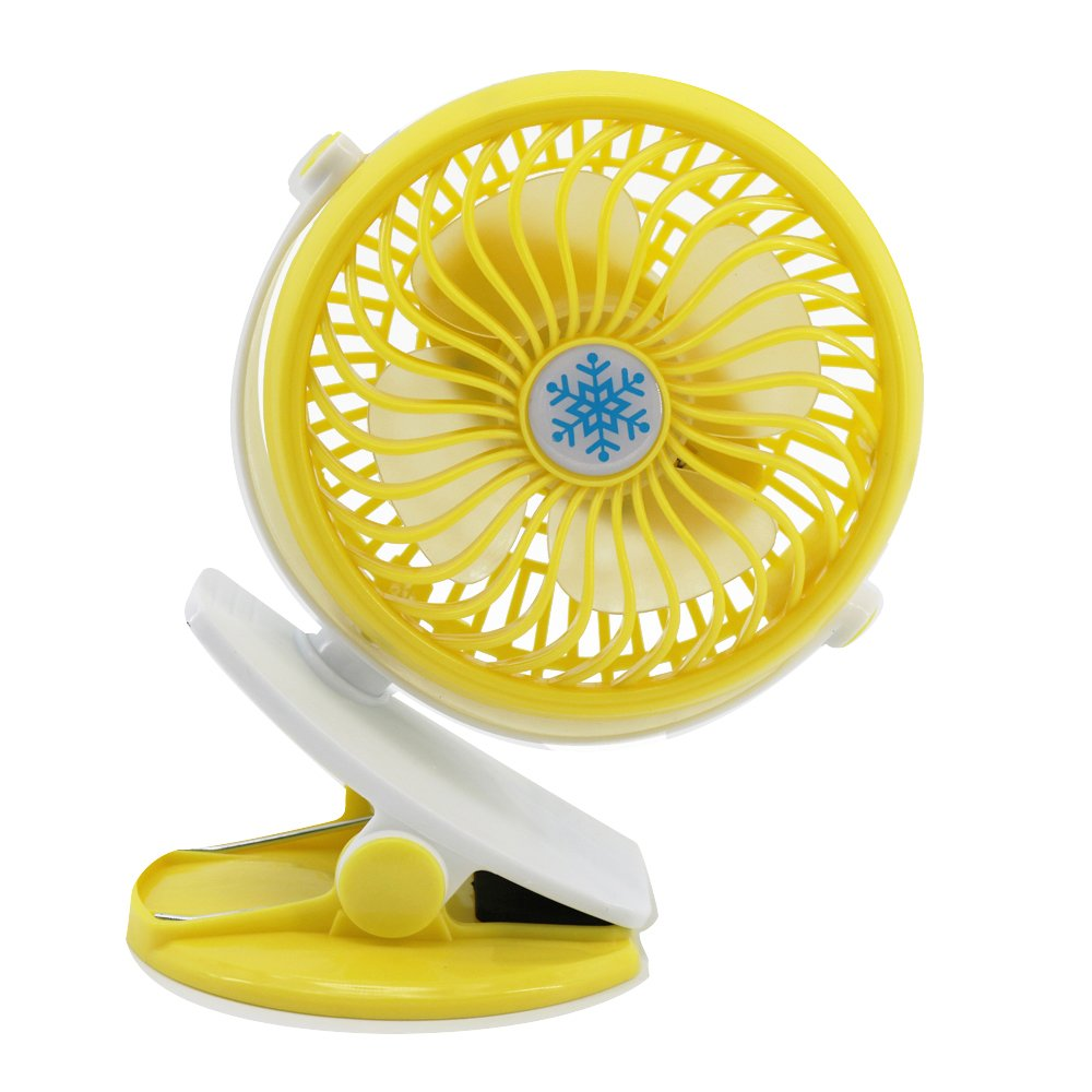 Portable Fan, Mini USB Rechargeable Table Fan Clip On Desk 360 Adjustable Strong Wind For Outdoor Traveling BBQ Baby Stroller (Yellow) JDSenYe