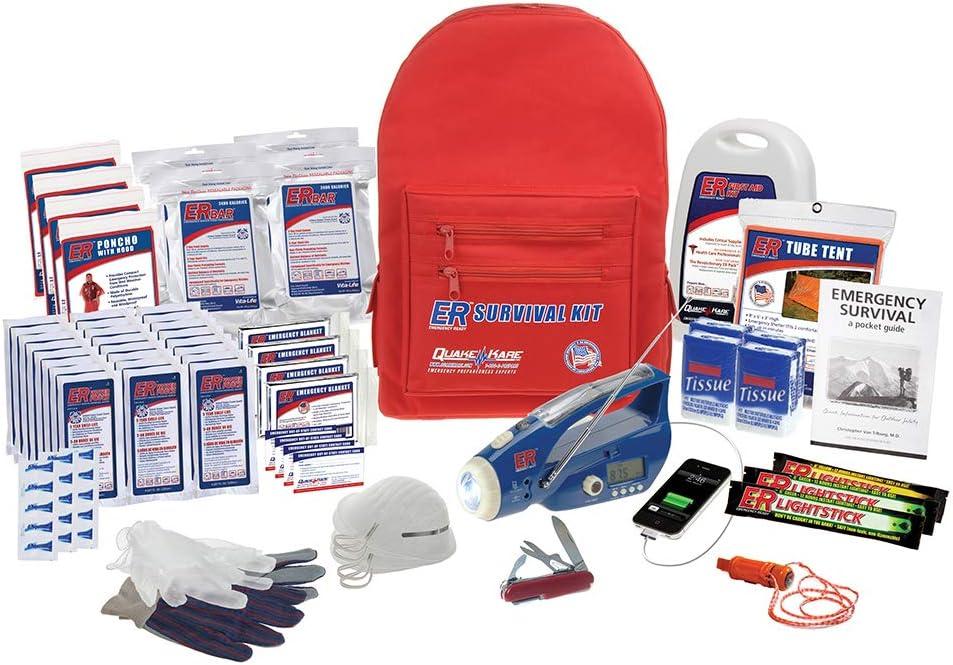 ER Emergency Ready 4 Person Ultimate Deluxe Backpack Survival Kit, SKBP4DD